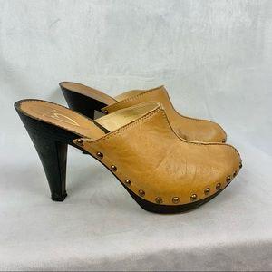 TAKE IT Leather Heeled Platform Wooden Clogs Sz 9